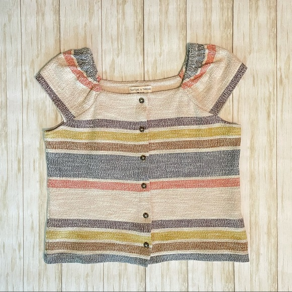 Madewell Button Top with Cap Sleeves